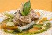 Veau aux légumes glacés, jus de basilic