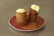 Tube caramélisé de fruits exotiques au curry déstructuré