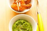 Poulet croustillant et sa purée de brocoli a l'huile d'olive