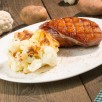 Chou fleur et pomme de terre gratines au parmesan et gorgonzola, magret de canard.