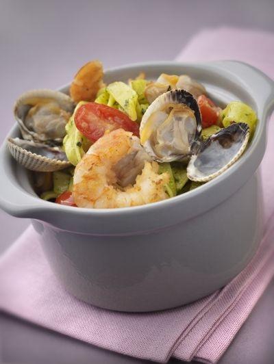 Tagliatelles vertes aux fruits de mer recette de tagliatelles vertes aux fruits de mer - Tagliatelles aux fruits de mer recette italienne ...