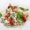 Linguine aux gambas, saint-jacques et tomates séchées au gorgonzola