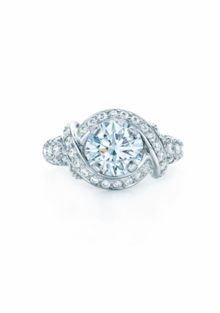 bagues de fiançailles tiffany solitaire pavé de diamants pierre de ...