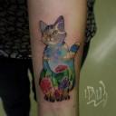 Tatouage de chat coloré