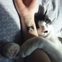 Tatouage chat noir et blanc sur le poignet
