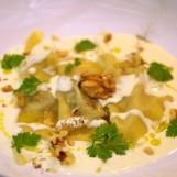 Ravioles à la bûchette affinée, aux noix, miel et romarin