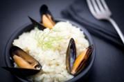 Risotto de moules, parmesan et beurre d'algues
