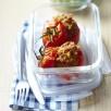 Tomates farcies à la chair de merguez & courgettes à la coriandre