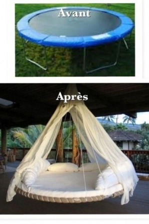 transformer un trampoline en lit de jardin suspendu diaporama famille doctissimo. Black Bedroom Furniture Sets. Home Design Ideas