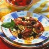 Carpaccio, salade de pâtes et légumes à la provençale