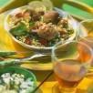 Croquettes d'agneau, taboulé et  salade d'aubergines