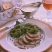 Aiguillettes de langue d'agneau aux tagliatelles verdes