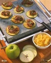 Idée Pierrade Pierrade de foie de veau aux pommes vertes : Recette de Pierrade