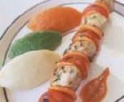 Brochettes de lapin chenille aux trois purées