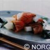 Radis japonais en habit de saumon de norvège