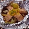 Pavés de saumon de norvege en papillotes a l orange et au fenouil