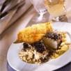 Cabillaud de norvège braisé aux olives noires et orge perlé