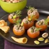 Mini tomates farcies aux pistaches, thon et câpres