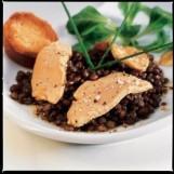 Salade tiède de lentilles et foie gras