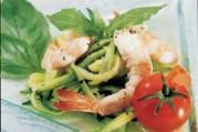 Courgettes aux crevettes et basilic