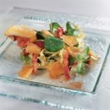 Salade de lard rôti et ravioles de romans
