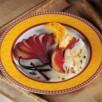 Rôti de canard, crème au picodon, polenta et poires au vin