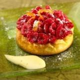 Tartelette aux framboises et sabayon à la salers