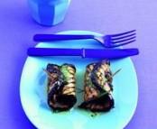 Papillotes d'Aubergine grillée et filet d'agneau au basilic