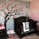 chambre de bébé sticker arbre rose