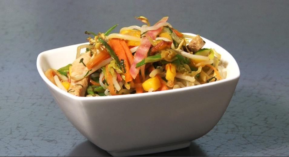 recette wok de l gumes et nouilles de shirataki de konjac une vid o recettes doctissimo. Black Bedroom Furniture Sets. Home Design Ideas
