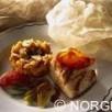 Filet de cabillaud de norvège (skrei) grillé tian de langues et chicon caramélisé, fenouil confit