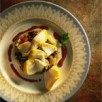 Pétales de cabillaud de norvège (skrei) poché aux épices, poêlée de blettes au parmesan