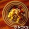 Dos de cabillaud de norvège (skrei) rôti au lard,  pommes de terre miette, jus de viande  et beurre noisette