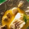 Cabillaud de norvège (skrei), crème d'ail  et moules de bouchot