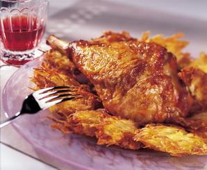 Cuisse de dinde et pommes de terre paillassons recette - Cuisiner une cuisse de dinde ...