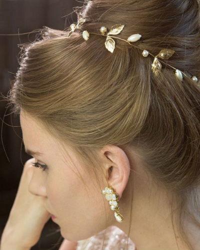 Bijoux cheveux  bijou de cheveux feuilles or  Diaporam