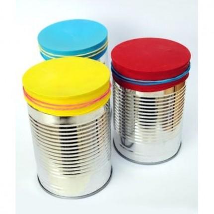 des bo tes de conserve pour fabriquer des tambours diy 10 astuces rep r es sur pinterest. Black Bedroom Furniture Sets. Home Design Ideas