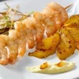 Brochettes de crevettes aux mangues