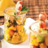 Tartare kiwi et mangue aux crevettes