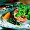 Langoustine sur lit de mache et quenelle de carotte confite à l'orange