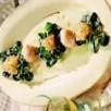 Mâche aux pelotes de parmesan et saint jacques gingembre