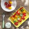 Brochette de légumes d'été, sauce à l'estragon