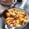 Wok de crevettes aux litchis frais et à l'ananas