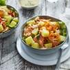 Salade de pommes de terre primeurs, crabe, pomelo, carotte et persil