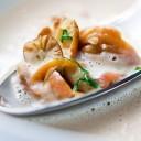 Entrée de chef : La crème de châtaignes aux épices douces, champignons du moment