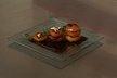 Abricots piqués au romarin, caramel de cerise